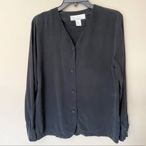 Woodsbury Vintage Silk Button Up Long Sleeve Top